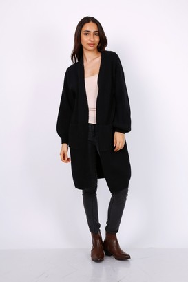 Lilura London Chunky Knit Oversized Cardigan In Black