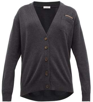 Brunello Cucinelli Monili-trim V-neck Cashmere Cardigan - Womens - Dark Grey