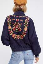Free People Floral Suede Bomber