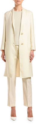 Agnona Cashmere-Silk Button-Front Coat