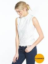 Very Lace Front Turtleneck Knitted Vest