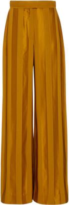 Martin Grant Tonal-Striped Satin Wide-Leg Trousers