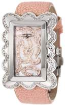 """Swisstek SK47801L Limited Edition Swiss Pink Diamond Watch With Mother-Of-Pearl Dial, Genuine Stingray """"Galuchat"""" Strap And Sapphire Crystal"""