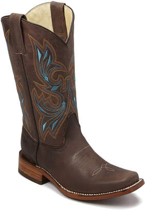 Redhawk Boot Co. Women's Western Boots Brown - Brown & Turquoise Embroidered Leather Cowboy Boot - Women