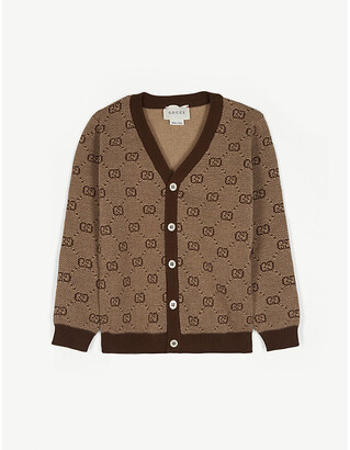 Gucci Wool and cotton GG web cardigan