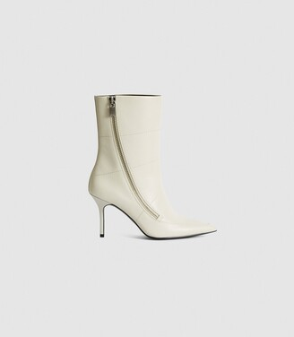 Reiss Hoxton - Leather Point-toe Boots in Off White