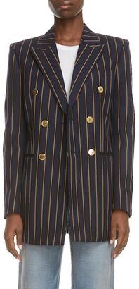 Saint Laurent Double Breasted Stripe Wool Blazer
