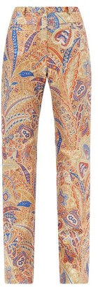 Paco Rabanne High-rise Paisley-jacquard Lurex Trousers - Gold Multi