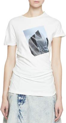 Proenza Schouler Short-Sleeve Building Patch Twisted T-Shirt