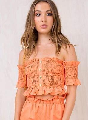 JuJu Princess Polly New Women's Shirred Crop Top