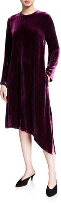 Eileen Fisher Velvet Jewel-Neck Long-Sleeve Asymmetrical Midi Dress