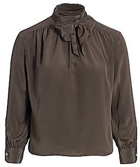 Baacal, Plus Size Women's Marion Tie Neck Blouse