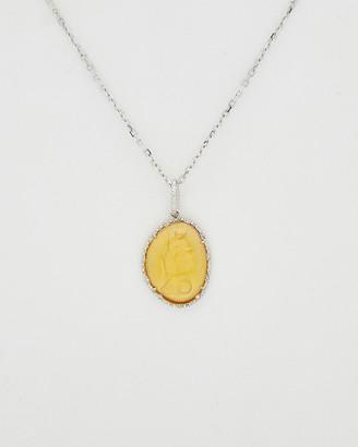 Phillip Gavriel Silver Diamond & Glass Cameo Necklace