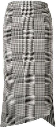 Silvia Tcherassi Houndstooth Asymmetric Midi Skirt