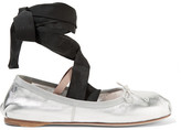 Miu Miu Lace-up Grosgrain-trimmed Metallic Leather Ballet Flats - Silver