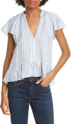 Veronica Beard Maple Flutter Sleeve Stripe Top
