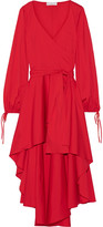 Caroline Constas Lena Asymmetric Wrap-effect Cotton-blend Mini Dress - Red