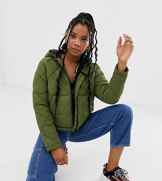 Noisy May grid padded hooded jacket-Green