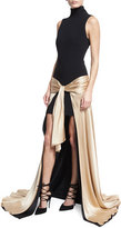 cinq a sept Thea Turtleneck Tie-Waist High-Low Gown, Black/Nude
