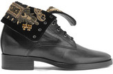 Etro Embellished Velvet And Leather Ankle Boots
