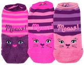 LittleMissMatched Pink & Purple 'Meow' Cat Fuzzy No-Show Socks Set