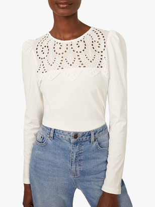 Warehouse Embroidered Lace Yoke Top