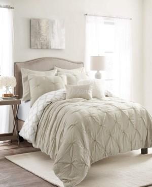 Lush Decor Ravello Pintuck Geo Reversible 7-Piece Full/Queen Comforter Set Bedding