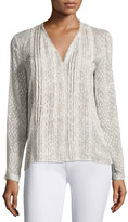 Elie Tahari Gale Long-Sleeve Lace-Trim Pintucked Blouse, Light Brown