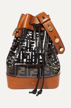 Fendi Mon Tresor Medium Printed Pvc And Leather Bucket Bag - Black