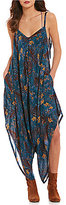 Free People El Porto V-Neck Sleeveless Printed Jumpsuit