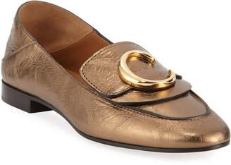 Chloé C Metallic Flat Fold-Down Loafers
