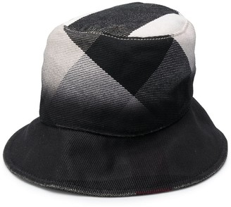 Burberry Pre Owned Check Print Bucket Hat