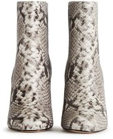 Reiss Odelle Snake - Snake-print Leather Ankle Boots in Brown, Womens
