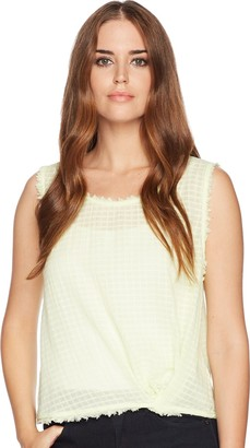 Splendid Women's Knit Front Tank Check Woven