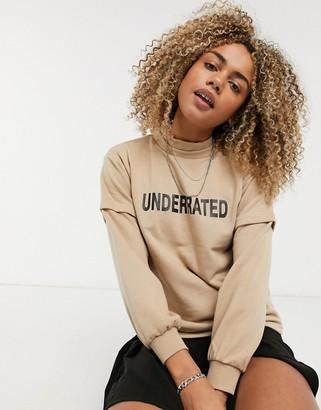 Noisy May high neck underrated logo front sweatshirt in beige