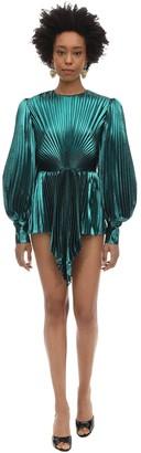 Gucci Pleated Silk Blend Lurex Mini Dress