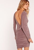 Missguided Slinky Drape Back Ruched Bodycon Dress Mauve