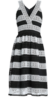 Kate Spade Gathered Striped Guipure Lace Dress