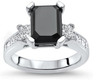 Overstock 14k Gold 4 1/10ct TDW Black Emerald-cut 3-stone Diamond Engagement Ring - White