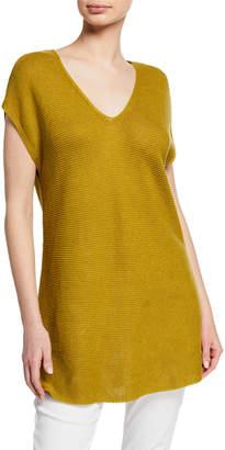 Eileen Fisher Petite V-Neck Short-Sleeve Textured Organic Linen-Cotton Tunic Sweater