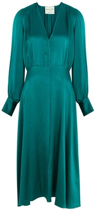 Forte Forte Teal hammered silk midi dress
