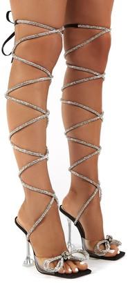 Public Desire Uk Queenie Lace up Diamante Bow Square Toe Heels