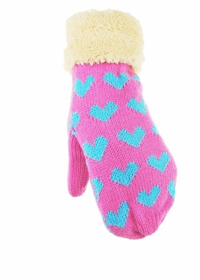 Glamour Girlz Ladies Thick Fleece Lined Cuff Cable Knit Thermal Mittens Hearts (Fuchsia)