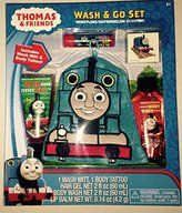 Thomas Train and Friends Wash & Go Bath Set - Whistling Watermelon Scented - Wash Mitt, Hair Gel, Body Wash, Lip Balm and Tattoo!
