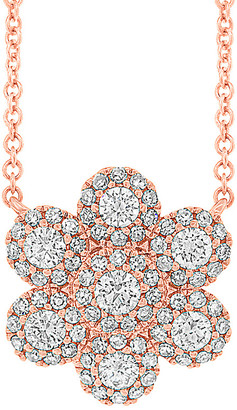Diana M Fine Jewelry 14K Rose Gold 0.47 Ct. Tw. Diamond Floral Necklace