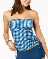 Hula Honey Juniors' Picnic Gingham Printed Bandeau Side-Tie Tankini Top, Created for Macy's Women's Swimsuit