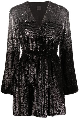 Pinko Sequin-Embellished Tie-Waist Dress