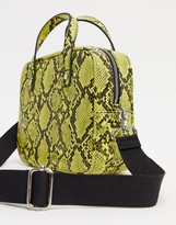 French Connection neon yellow snakeprint bag with detachable strap