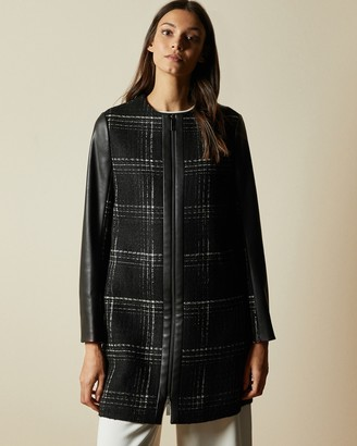 Ted Baker SHELLIE Faux leather sleeve checked coat