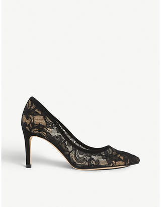 LK Bennett Floret lace and leather courts